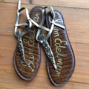 Sam Edelman Sandals Flats T-Strap Ankle Strap Stud